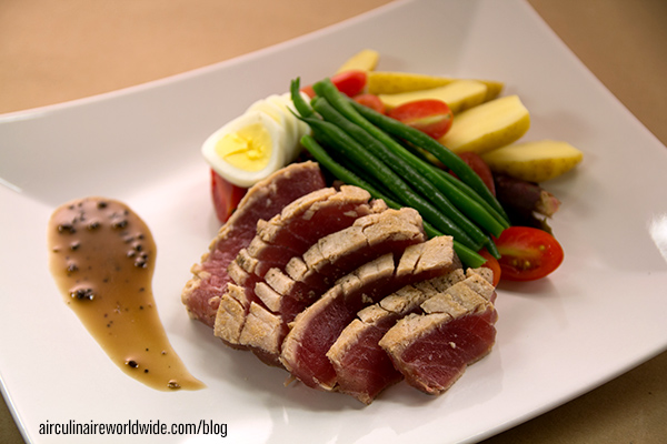 Tuna Nicoise In-Flight Plating Video