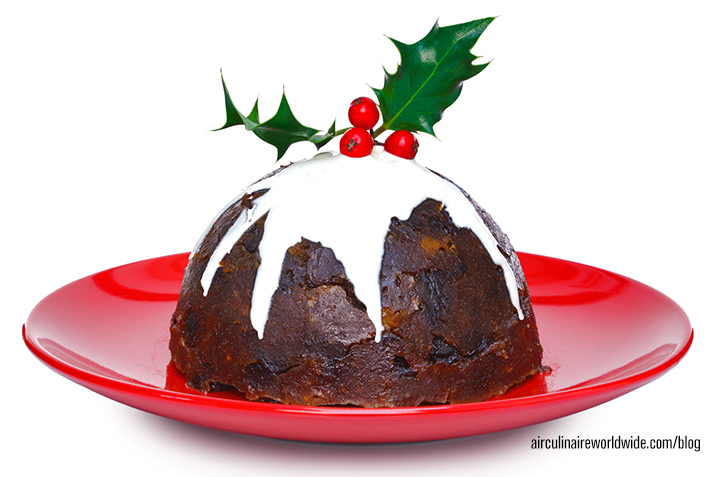Christmas pudding with cream