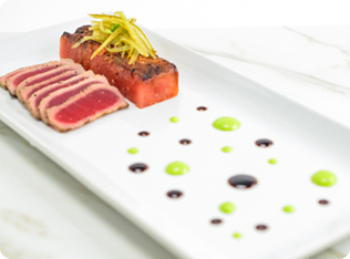 Ahi Tuna Tataki with Seared Togarashi Watermelon-Plating