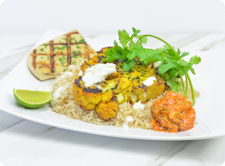 "Aloo Gobi Grilled Turmeric Cauliflower ""Steak"""