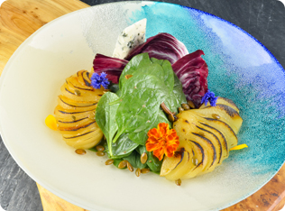 Cayuga Blue Goat Cheese & Pear Salad Plating Guide